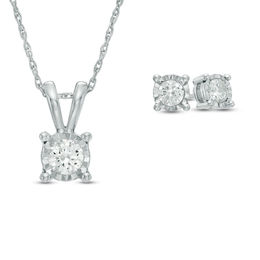 0.95 CT. T.W. Diamond Solitaire Pendant and Earrings Set in 10K White Gold