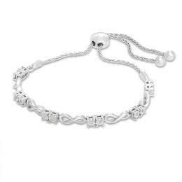 0.05 CT. T.W. Diamond Two-Stone Infinity Bolo Bracelet in Sterling Silver - 9.5""