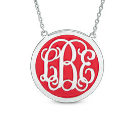 Circle Enamel Monogram Necklace in Sterling Silver (3 Initials and 1 Enamel Colour)