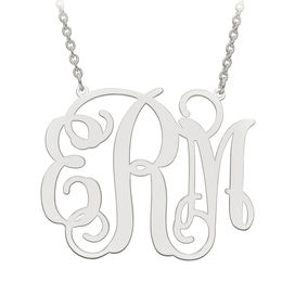 Scroll Monogram Necklace in Sterling Silver (3 Initials)