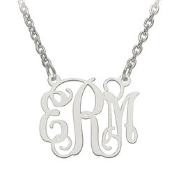 Small Scroll Monogram Necklace in Sterling Silver (3 Initials)