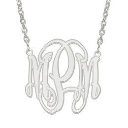 Etched Scroll Monogram Necklace in Sterling Silver (3 Initials)
