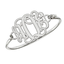 Etched Scroll Monogram Bangle in Sterling Silver (3 Initials) - 7.5""