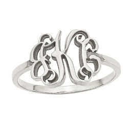 Scroll Monogram Ring in 10K White Gold (3 Initials)