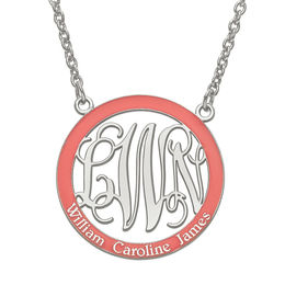 Round Enamel Family Scroll Monogram Necklace in Sterling Silver (1 Colour, 3 Initials and 3 Names)