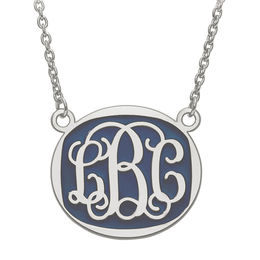 Enamel Scroll Oval Monogram Necklace in Sterling Silver (1 Colour and 3 Initials)