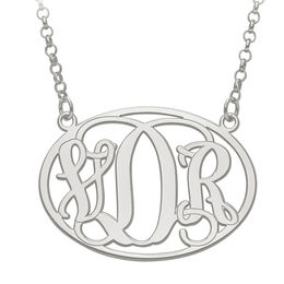 Oval Monogram Necklace in 10K White Gold (3 Initials)