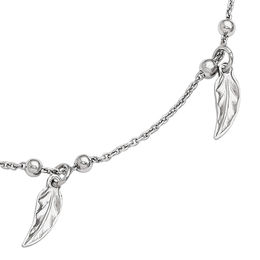 Captive Feather Dangle and Bead Station Anklet in Sterling Silver - 10""
