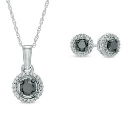 0.70 CT. T.W. Enhanced Black and White Diamond Frame Pendant and Earrings Set in 10K White Gold