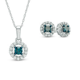 0.70 CT. T.W. Enhanced Blue and White Diamond Frame Pendant and Earrings Set in 10K White Gold
