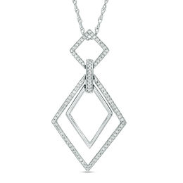1/4 CT. T.W. Diamond Interlocking Tilted Squares Pendant in Sterling Silver