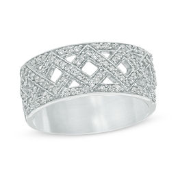 1/3 CT. T.W. Diamond Criss-Cross Band in Sterling Silver