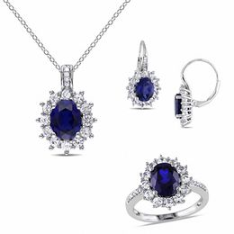 Oval Lab-Created Blue and White Sapphire with Diamond Accent Frame Pendant, Ring and Earrings Set in Sterling Silver