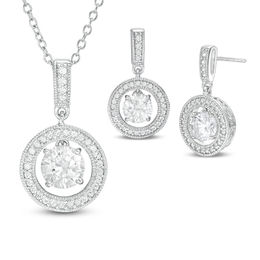 Lab-Created White Sapphire Frame Pendant and Drop Earrings Set in Sterling Silver