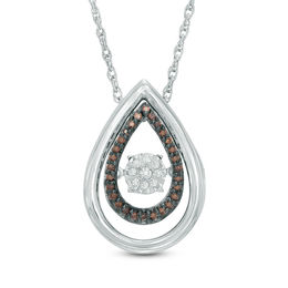 Unstoppable Love™ 1/10 CT. T.W. Champagne and White Composite Diamond Teardrop Pendant in Sterling Silver