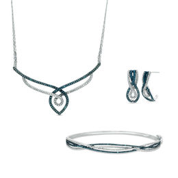 0.10 CT. T.W. Enhanced Blue and White Diamond Twist Necklace, Drop Earrings, and Bangle Set in Sterling Silver