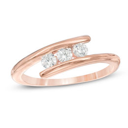 0.23 CT. T.W. Diamond Three Stone Bypass Engagement Ring in 10K Rose Gold