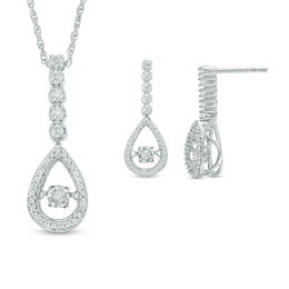 Unstoppable Love™ 0.50 CT. T.W. Diamond Linear Teardrop Pendant and Drop Earrings Set in 10K White Gold
