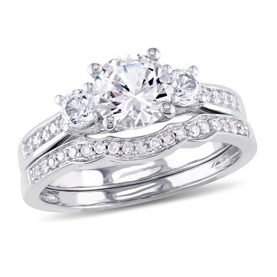 6 0mm Lab-Created White Sapphire and 0 14 CT  T W  Diamond Three Stone  Bridal Set in 10K White Gold|Peoples Jewellers