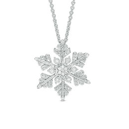 0.04 CT. T.W. Diamond Snowflake Pendant in Sterling Silver