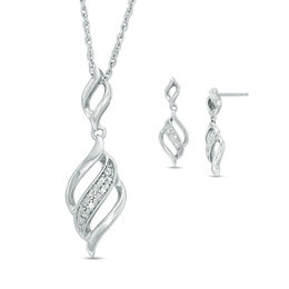 Diamond Accent Flame Pendant and Drop Earrings Set in Sterling Silver