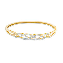 Lab-Created White Sapphire Loose Braid Bangle in Sterling Silver with 18K Gold Plate
