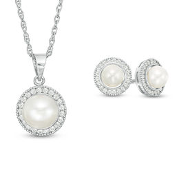 Button Cultured Freshwater Pearl and Lab-Created White Sapphire Frame Pendant and Stud Earrings Set in Sterling Silver
