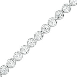 Lab-Created White Sapphire Bezel-Set Tennis Bracelet in Sterling Silver - 7.25""