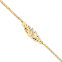 Filigree Heart Anklet in 14K Gold - 10""