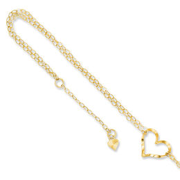 Heart Double Strand Adjustable Anklet in 14K Gold - 10""
