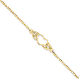 Heart Anklet in 14K Gold - 10""
