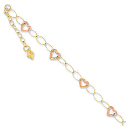 Heart Link Adjustable Anklet in 14K Two-Tone Gold - 10""