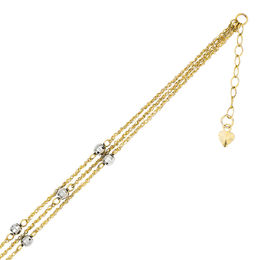 Diamond-Cut Triple Strand Bead Anklet in 14K Two-Tone Gold - 10""