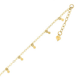 Diamond-Cut Circle Station Anklet in 14K Gold - 10""