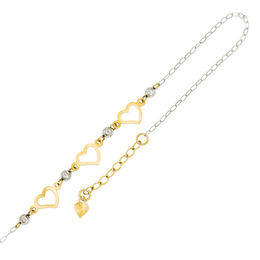 Diamond-Cut Triple Heart Anklet in 14K Two-Tone Gold - 10""