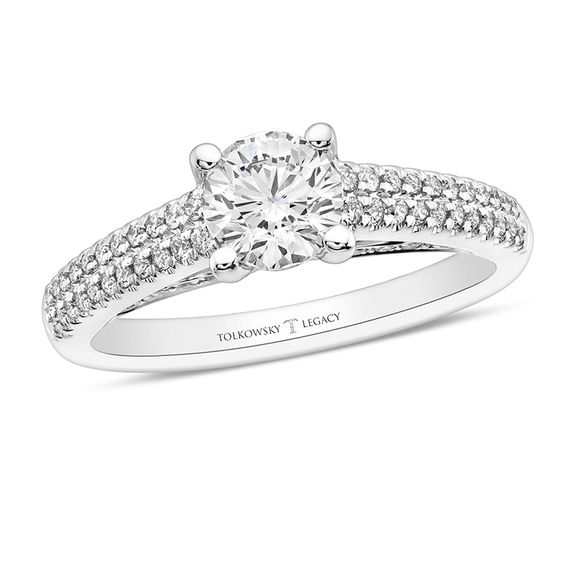 Tolkowsky Legacy 095 CT TW Certified Diamond Engagement Ring in