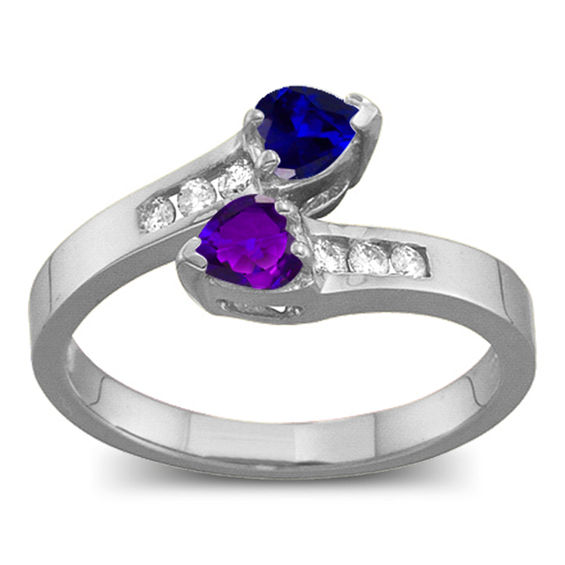 Couple's Heart-Shaped Birthstone and 0.11 CT. T.w. Diamond Bypass Ring V-20099800