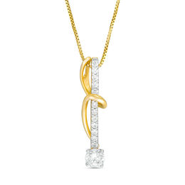 0.50 CT. T.W. Certified Canadian Diamond Linear Bar and Swirl Pendant in 14K Gold (I/I2) - 17""