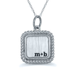 Engravable Brushed Rope Frame Monogram Square Pendant (3 Initials)