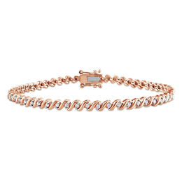 "0.49 CT. T.W. Diamond ""S""-Curve Tennis Bracelet in Sterling Silver with Rose Rhodium - 7.5"""