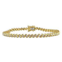 "0.49 CT. T.W. Diamond ""S""-Curve Tennis Bracelet in Sterling Silver with Yellow Rhodium - 7.5"""