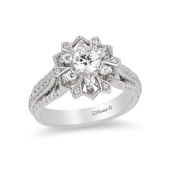 Enchanted Disney Elsa 0 95 Ct T W Diamond Snowflake