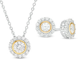 Lab-Created White Sapphire Flower Frame Pendant and Stud Earrings in Sterling Silver with 18K Gold Plate