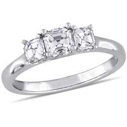 1.00 CT. T.W. Asscher-Cut Diamond Three Stone Engagement Ring in 14K White Gold (VS2/H)