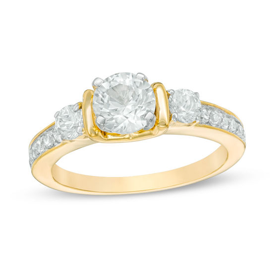 Lab-Created White Sapphire Three Stone Collar Engagement Ring in Sterling  Silver with 14K Gold Plate|Peoples Jewellers
