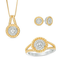 0.18 CT. T.W. Diamond Pendant, Ring and Earrings Set in Sterling Silver with 14K Gold Plate - Size 7