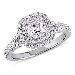 1.18 CT. T.W. Asscher-Cut Diamond Double Frame Engagement Ring in 14K White Gold (H/SI1)