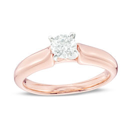 Certified Canadian Diamond Solitaire Engagement Ring In 14k Rose Gold I