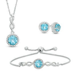 Swiss Blue Topaz and Lab-Created White Sapphire Three Piece Set in Sterling Silver