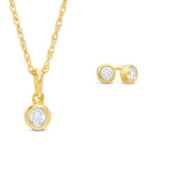 0.23 CT. T.W. Diamond Bezel-Set Solitaire Pendant and Stud Earrings Set in 10K Gold